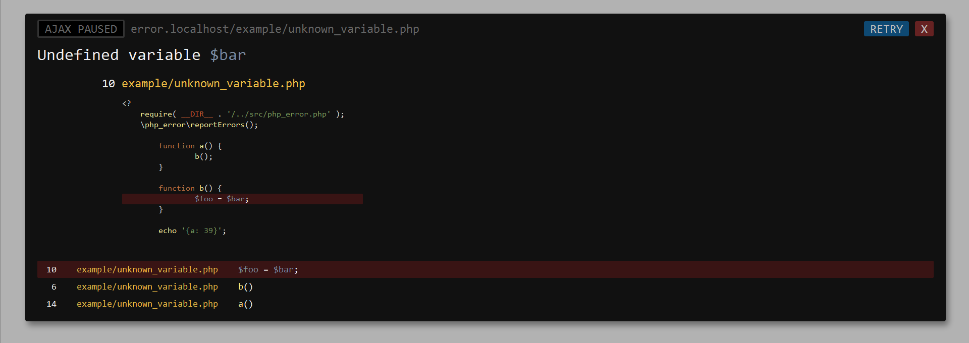 PHP Error | Improve Error Reporting for PHP - screenshot of backtrace