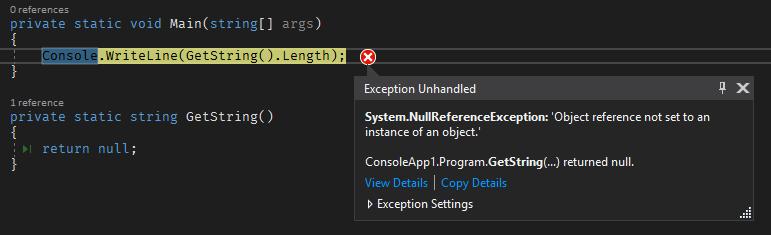 Visual Studio 2017 exception helper