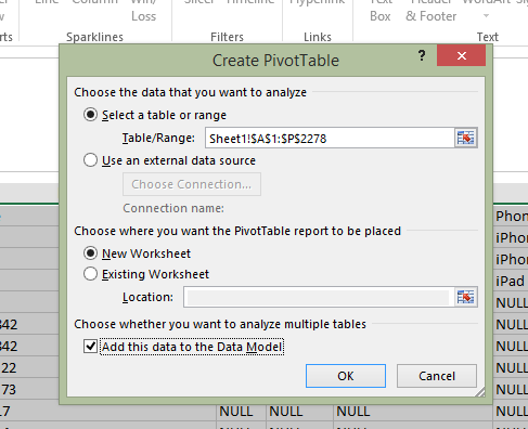 Tick the box next to 'Add this data to the Data Model'