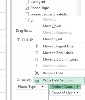 Edit field value settings